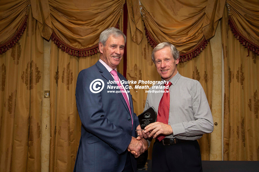 27/10/2019, Bohermeen Athletic Club 50th Anniversary celebration at the Ardboyne Hotel, Navan.<br /> Vincent Rennicks makes a presentation to Colm Rennicks - Club Record Holder<br /> Photo: David Mullen / www.quirke.ie ©John Quirke Photography, Unit 17, Blackcastle Shopping Cte. Navan. Co. Meath. 046-9079044 / 087-2579454.<br /> ISO: 400; Shutter: 1/200; Aperture: 6.3; <br /> File Size: 2.8MB