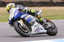 © Licensed to London News Pictures. 20/10/2012. Valentino Rossi (ITA) riding for the Yamaha Factory Racing during the Race day of the round 16 2013 Tissot Australian Moto GP at the  Phillip Island Grand Prix Circuit Victoria, Australia. Photo credit : Asanka Brendon Ratnayake/LNP