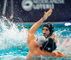 Ugo Crousillatof the France in action against Netherlands during the Olympic qualifying tournament. The Dutch water polo players are on the hunt for a starting ticket for the Olympic Games on February 17, 2021 in Rotterdam