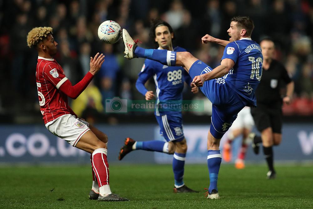 Bristol City's Lloyd Kelly and Birmingham City's Lukas Jutkiewicz
