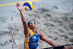 Alexandra Jupiter FRA in action during the second day of the beach volleyball event King of the Court at Jaarbeursplein on September 10, 2020 in Utrecht.