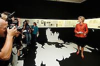 """10 AUG 2006, BERLIN/GERMANY:<br /> Erika Steinbach, MdB, CDU, Vorsitzende der Stiftung """"Zentrum gegen Vertreibung"""" und Praesidentin Bund der Vertriebenen, Presserundgang vor der Eroeffnung der Ausstellung """"Erzwungene Wege - Flucht und Vertreibung im Europa des 20. Jh."""", Kronprinzenpalais<br /> IMAGE: 20060810-01-009<br /> KEYWORDS: Präsidentin, Kamera, Camera"""