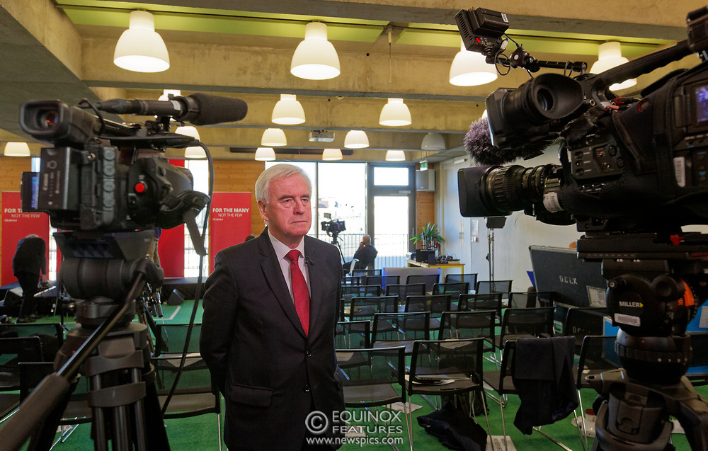 London, United Kingdom - 9 December 2019<br /> John McDonnell gives an economics speech in the run up to the general election 2019, on behalf of the Labour Party at Coin Street Community Builders, London, England, UK.<br /> (photo by: EQUINOXFEATURES.COM)<br /> Picture Data:<br /> Photographer: Equinox Features<br /> Copyright: ©2019 Equinox Licensing Ltd. +443700 780000<br /> Contact: Equinox Features<br /> Date Taken: 20191209<br /> Time Taken: 12041746<br /> www.newspics.com