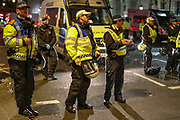 June 3, 2020, London, England, United Kingdom: A police crew waiting for the protestors to search and video record before they are let go one-by-one in central London on Wednesday, June 3, 2020. (Credit Image: © Vedat Xhymshiti/ZUMA Wire)