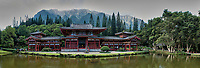 Panorama of the Byodo-In Temple in Kaneohe on the island of Oahu. Composite of six images taken with a Nikon 1 V3 camera and 10 mm f/2.8 lens (ISO 160, 10 mm, f/5.6, 1/125 sec). Raw images processed with Capture One Pro, and the composite panorama created using Kolor AutoPano Giga Pro.