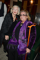 Left to right,  actress PEGGY CUMMINS and DAPHNE FAIRBANKS daughter of late actor Douglas Fairbanks Jnr at the Kent and Curwen London Flagship Launch, Saville Row, London on 6th November 2013.