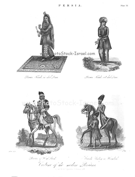 19th Century illustration of the Costume of the Modern Persians Copperplate engraving From the Encyclopaedia Londinensis or, Universal dictionary of arts, sciences, and literature; Volume XIX;  Edited by Wilkes, John. Published in London in 1823