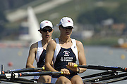 Poznan, POLAND.  2006, FISA, Rowing World Cup, GBR W2X,  bow  Annie VERNON and Anna BEBINGTON, move away from the start pontoon at the   'Malta Regatta course;  Poznan POLAND, Fri. 16.06.2006. © Peter Spurrier   ....[Mandatory Credit Peter Spurrier/ Intersport Images] Rowing Course:Malta Rowing Course, Poznan, POLAND