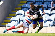 Bradford Bulls Jonathon Campbell (19) is tackled on the wing during the Kingstone Press Championship match between Rochdale Hornets and Bradford Bulls at Spotland, Rochdale, England on 18 June 2017. Photo by Simon Davies.