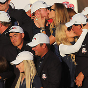 Ryder Cup 2016. Day Three. Phil Mickelson celebrates with his wife Amy as the  United States team celebrate their  Ryder Cup win after the United States victory over Europe in the Ryder Cup tournament at Hazeltine National Golf Club on October 02, 2016 in Chaska, Minnesota.  (Photo by Tim Clayton/Corbis via Getty Images)