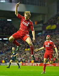 24.02.2011, Anfield, Liverpool, ENG, UEFA EL, Liverpool Fc vs Parta Prag, im Bild Liverpool's Dirk Kuyt celebrates scoring against AC Sparta Praha during the UEFA Europa League Round of 32 2nd leg match at Anfield, EXPA Pictures © 2010, PhotoCredit: EXPA/ Propaganda/ D. Rawcliffe *** ATTENTION *** UK OUT!