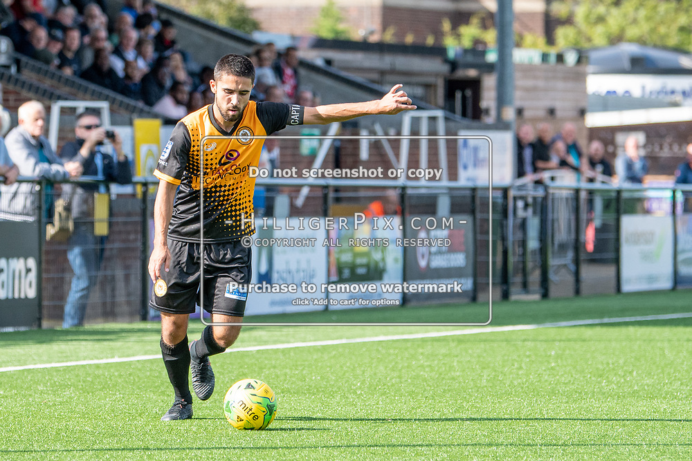 BROMLEY, UK - SEPTEMBER 08: Barney Williams, of Cray Wanderers FC, prepares to cross the ball during the Emirates FA Cup First Qualifying Round match between Cray Wanderers FC and Bedfont Sports Club at Hayes Lane on September 8, 2019 in Bromley, UK. <br /> (Photo: Jon Hilliger)