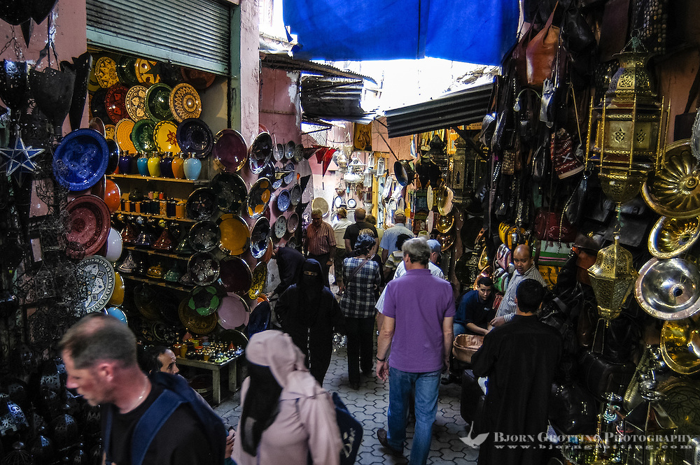 Morocco, Marrakesh. Jemaa el Fna is a square and market place in Marrakesh's medina. Inside the Souq.