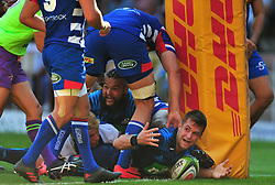 Cape Town-180317 Michael Collins of the  Blues scoring his first try in the second half against DHL Stomers in the Super Rugby tournament  at Newlands rugby stadium.Photograph:Phando Jikelo/African News Agency/ANA