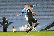 Manchester City midfielder Phil Foden (47) crosses during the Premier League match between Manchester City and Burnley at the Etihad Stadium, Manchester, England on 28 November 2020.