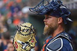 March 26, 2018 - Houston, TX, U.S. - HOUSTON, TX - MARCH 26: Houston Astros catcher Brian McCann (16) prepares to enter the field during the game between the Milwaukee Brewers and Houston Astros at Minute Maid Park on March 26, 2018 in Houston, Texas. (Photo by Ken Murray/Icon Sportswire) (Credit Image: © Ken Murray/Icon SMI via ZUMA Press)