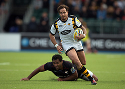 October 9, 2016 - Barnet, England, United Kingdom - Danny Cipriani of Wasps RFC sets up wasps first try..during the Aviva Premiership match between Saracens and Wasps at the Allianz Park, London, England on 9th October 2016.    in Barnet, England. (Credit Image: © Kieran Galvin/NurPhoto via ZUMA Press)