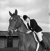 """04/05/1965<br /> 05/04/1965<br /> 04 May 1965<br /> Pictures from the RDS Spring show for the Belfast Telegraph. Miss Deborah Eakin on her horse """"Destiny""""."""