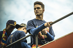 April 30, 2018 - Barcelona, Catalonia, Spain - FC Barcelona midfielder DENIS SUAREZ during the FC Barcelona's open top bus victory parade after winning the LaLiga with their eighth double in the club history (Credit Image: © Matthias Oesterle via ZUMA Wire)