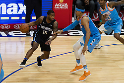 March 10, 2018 - Los Angeles, CA, U.S. - LOS ANGELES, CA - MARCH 10: Orlando Magic guard Rodney Purvis (15) drives the ball to the middle against LA Clippers forward Tobias Harris (34) during the game between the Orlando Magic and the LA Clippers on March 10, 2018, at STAPLES Center in Los Angeles, CA. (Photo by David Dennis/Icon Sportswire) (Credit Image: © David Dennis/Icon SMI via ZUMA Press)