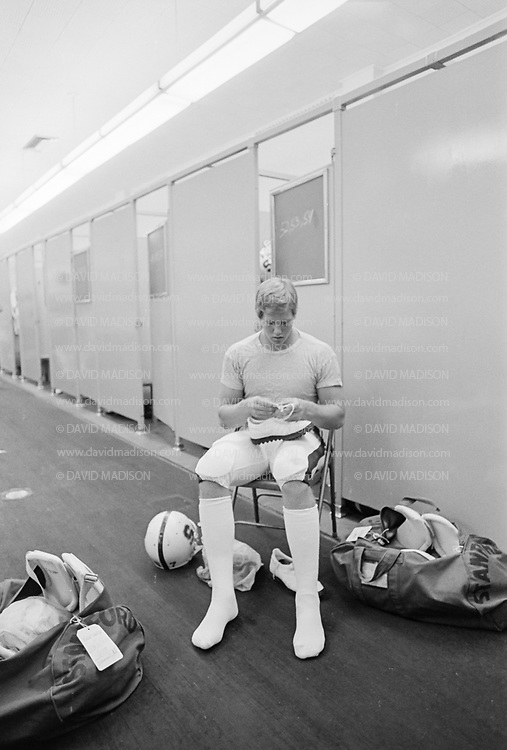 COLLEGE FOOTBALL:  Stanford vs UCLA on October 11, 1980 at the Los Angeles Memorial Coliseum in Los Angeles, California.  Mike Teeuws of Stanford prepares for the game.  Photograph by David Madison ( www.davidmadison.com ).
