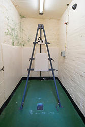 A Frame where prisoners were given Cat O 9 Tails punishment at Peterhead Prison Museum in Peterhead, Aberdeenshire, Scotland, UK