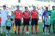 Referee Halil Umut Meler and assistants Peter Kobor and Chasan Koula during the UEFA European Under 17 Championship 2018 match between England and Israel at Proact Stadium, Whittington Moor, United Kingdom on 4 May 2018. Picture by Mick Haynes.