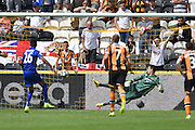 Leicester City's Riyad Mahrez (26) scores penalty to go 1 all  during the Premier League match between Hull City and Leicester City at the KCOM Stadium, Kingston upon Hull, England on 13 August 2016. Photo by Ian Lyall.