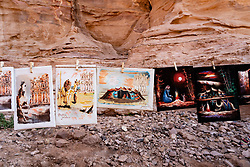Detail of tourist gift stall with local artwork on display at Petra, Jordan