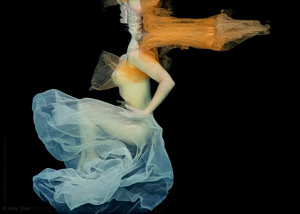 An underwater photograph of a naked model covered with tulle - by alex sher