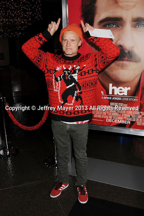 LOS ANGELES, CA- DECEMBER 12: Musician Flea of Red Hot Chili Peppers arrives at the 'Her' Los Angeles Premiere - Arrivals at Directors Guild Of America on December 12, 2013 in Los Angeles, California.