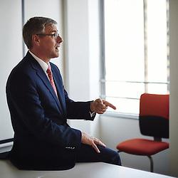 Paris La Defense, France. September 9, 2015. Alain Dehaze, Adecco's CEO, in a meeting room at Adecco's headquarter in France. Photo: Antoine Doyen