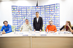 Primoz Kozmus, Vladimir Kevo, Roman Dobnikar, Luka Steiner and Katja Kustec during press conference when Slovenian athletes and their coaches sign contracts with Athletic federation of Slovenia for year 2016, on February 25, 2016 in AZS, Ljubljana, Slovenia. Photo by Vid Ponikvar / Sportida
