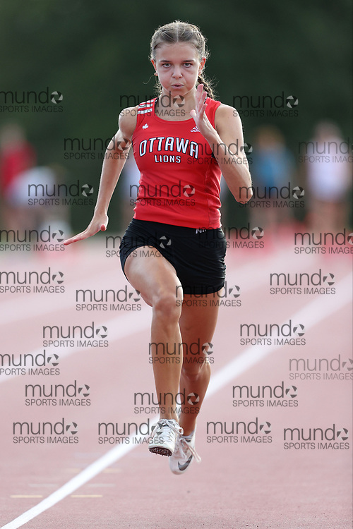 (Montreal, Canada --- 5 August 2020) Kathryn Manor racing in the 100m at the second 2020 Ottawa Summer Twilight Track and Field Meet held under COVID-19 safety rules. Photo 2020 Copyright Sean Burges / Mundo Sport Images.