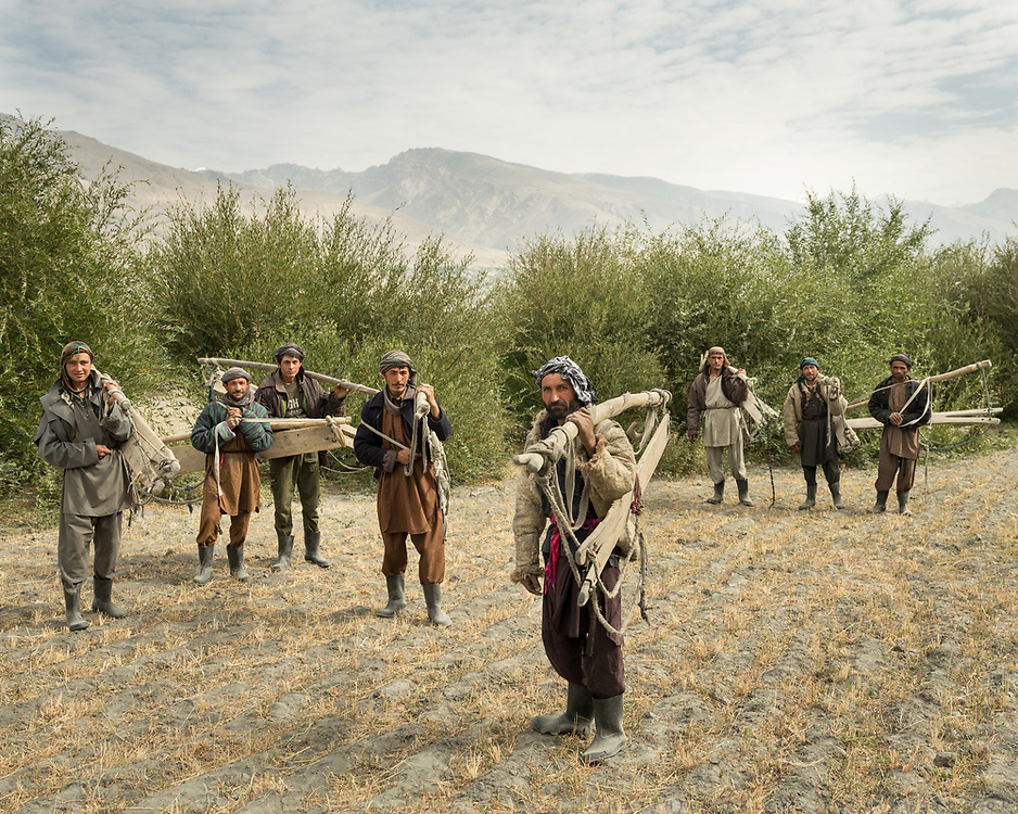 Group of men going to carry hay. The traditional life of the Wakhi people, in the Wakhan corridor, amongst the Pamir mountains.  Early morning, this group of men, most of them are relatives, get together, carrying this wooden tools, like gigantic food clips. They are used to clip huge quantity of hay in it, and bring it to a shed. Without a strong sense of community, you could not survive there.