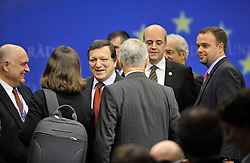 Jose Manuel, Barroso, president of the European Commission, center left, smiles as he and Fredrik Reinfeldt, Sweden's prime minister and standing president of the European Council, center right, leave a news conference prior to the start of the European Summit, Thursday, Oct. 29, 2009, in Brussels, Belgium.  (Photo © Jock Fistick)