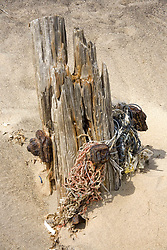 July 21, 2019 - Old Post Tangled In Net On Sand (Credit Image: © John Short/Design Pics via ZUMA Wire)