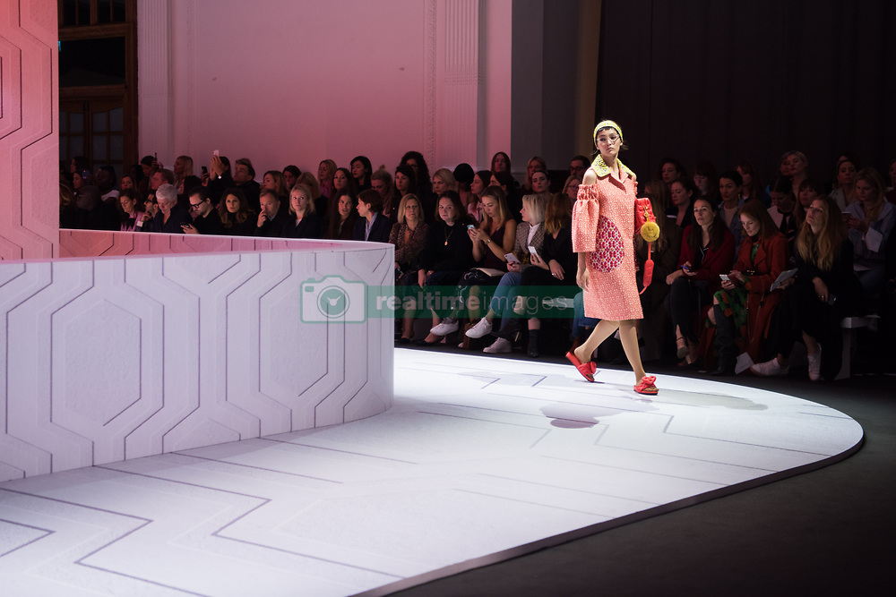 Models on the catwalk at the Anya Hindmarch London Fashion Week SS18 show, held at the Lindley Hall, London. Picture date: Sunday September 17th, 2017. Photo credit should read: Matt Crossick/ EMPICS Entertainment.