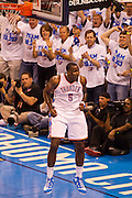 June 2, 2012; Oklahoma City, OK, USA; Oklahoma City Thunder  center Kendrick Perkins (5) reacts during a playoff game against the San Antonio Spurs at Chesapeake Energy Arena.  Thunder defeated the Spurs 109-103 Mandatory Credit: Beth Hall-US PRESSWIRE