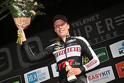 October 14, 2018 - Gieten, NETHERLANDS - Dutch Annemarie Worst celebrates on the podium after winning the women's race at the first stage of the Superprestige cyclocross cycling competition, in Gieten, Netherlands, Sunday 14 October 2018. BELGA PHOTO DAVID STOCKMAN (Credit Image: © David Stockman/Belga via ZUMA Press)
