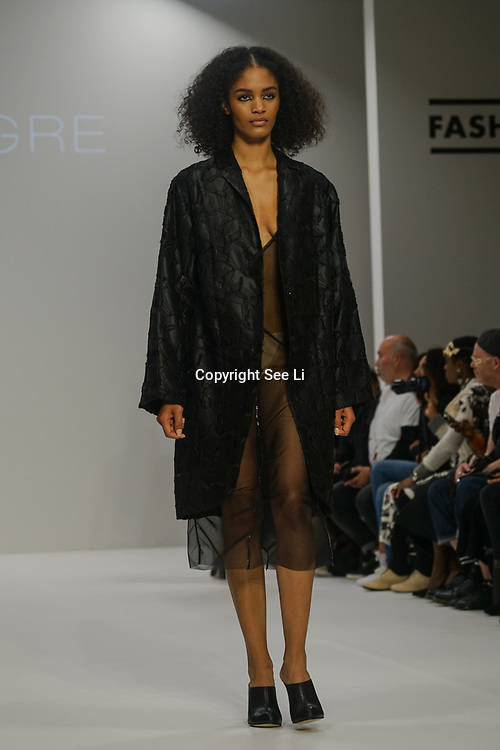 London, England, UK. 18th September 2017. Designer IRYNVIGRE showcases is latest collection at Fashion Scout SS18 Day 4 at Freemason Hall.