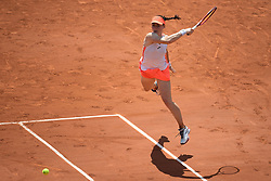 PARIS, FRANCE June 8. Tamara Zidansek of Slovenia in action against Paula Badosa of Spain on Court Philippe-Chatrier during the quarter finals of the singles competition at the 2021 French Open Tennis Tournament at Roland Garros on June 8th 2021 in Paris, France. Photo by SIPA/SPORTIDA
