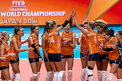 03-10-2018 NED: World Championship Volleyball Women day 5, Yokohama<br /> Argentina - Netherlands 0-3 / Team Netherlands celebrate