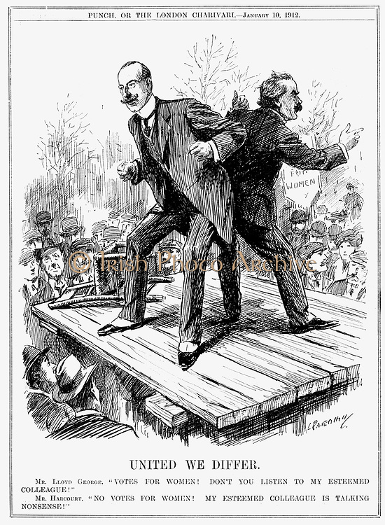Votes for Women.  The British Liberal Party speaking with two voices. Lewis Vernon Harcourt saying 'No votes for women' while on the other side of the platform his colleague David Lloyd George is saying 'Votes for Women'. Cartoon by Leonard RavenHill from 'Punch', London, 10 January 1912.