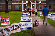 Henderson high school voting station, Super Tuesday primaries on 3rd March 2020 in Montgomery, Alabama, United States. Super Tuesday is the United States presidential primary election day in February or March when the greatest number of U.S. states hold primary elections and caucuses. Approximately one-third of all delegates to the presidential nominating conventions can be won on Super Tuesday, more than on any other day. The results on Super Tuesday are therefore a strong indicator of the likely eventual nominee of each political party.