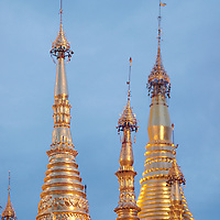 Detail of the top of Shwedagon Pagoda's stupas