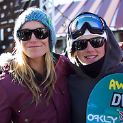 Slopestyle winners Jamie Anderson, USA, (left) and Mark McMorris, Canada, (right), during the Women's Slopestyle Finals at the Burton New Zealand Open 2011 held at Cardrona Alpine Resort, Wanaka, New Zealand, 12th August 2011. Photo Tim Clayton