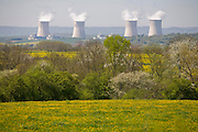 Nuclear power plant cooling towers of the Cannenom Nuclear Power Station in France on the Moselle River, near Thionville, 35 km from Luxembourg. Plant consists of 4 pressurized water reactors, each generating 1300 MW. The image is part of a collection of images and documentation for Hungry Planet 2, a continuation of work done after publication of the book project Hungry Planet: What the World Eats.