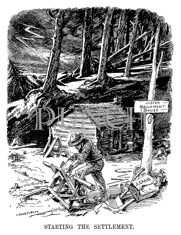 Starting the Settlement. (James Craig builds a log cabin from a forest of trees and the sign Ulster - Parliament House as lightning strikes in the background in the InterWar era)