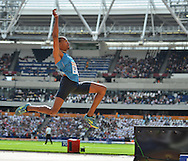 Christian Taylor USA long jumper during the Sainsbury's Anniversary Games at the Queen Elizabeth II Olympic Park, London, United Kingdom on 25 July 2015. Photo by Mark Davies.